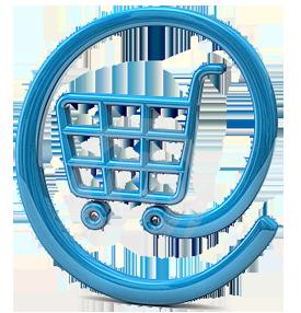 @, ad Zeichen,  Klammeraffe, in der Mitte ein Einkaufswagen, © http://www.pngall.com/online-shopping-png
