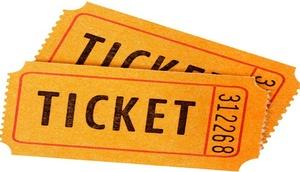 2 orangefarbenen Tickets