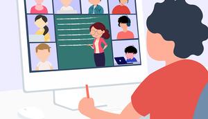 Abbildung eines Bildschirms mit Schulung über Video Konferenz