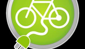 Art Verkehrszeichen, Fahrrad in grünem Kreis mit Kabel und Stecker