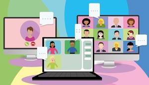 Zeichnung von mehreren Bildschirmen mit Personen und Sprechblasen