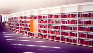 Langes Bücherregal
