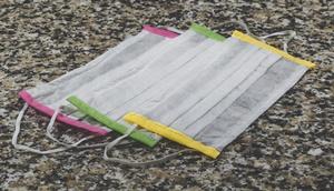 3 Stück Mund-Nasen-Schutzmasken mit farbigem Rand