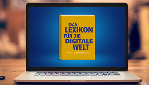 Abbildung des Buchs auf Laptop-Bildschirm