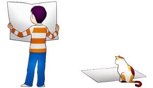 Ausschnitt: Zeichnung von Kind und Katze, Zeitung lesend