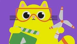 Logo Videowettbewerb, Zeichnung von gelber Katze, Windrad, Filmklappe