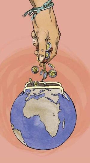 Zeichnung einer Hand die Münzen, in eine Börse in Form einer Weltkugel, fallen lässt , © Wien XTRA