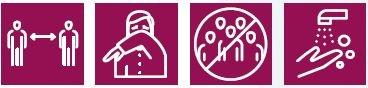 Piktogramme für Abstand halten, Atemhygiene, Ansammlungen vermeiden, Hände waschen, © BMBWF, Abb. aus Broschüre