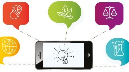 Smartphone umgeben von Symbole für Rohstoffe, Chemie, Natur   , © Jane Godall Institut Austria