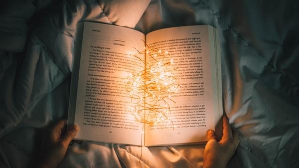 Altes Buch aufgeklappt mit Lichterkette, © nong-vang @unsplash