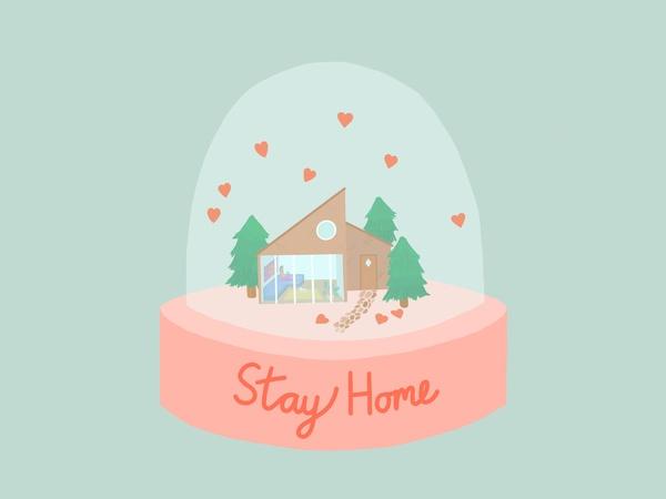 """Schneekugel mit Haus, darunter Text """"stay home"""", © United Nations"""