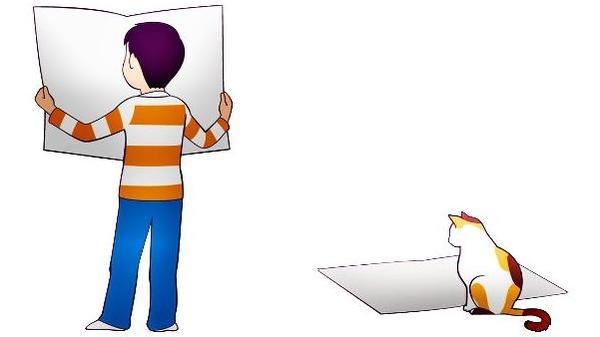Ausschnitt: Zeichnung von Kind und Katze, Zeitung lesend , © Please Don't sell My Artwork AS IS auf Pixabay