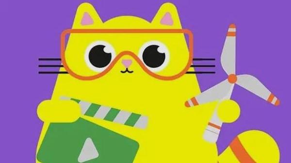 Logo Videowettbewerb, Zeichnung von gelber Katze, Windrad, Filmklappe, © OVE Österreichischer Verband für Elektrotechnik, Ausschnitt der Website
