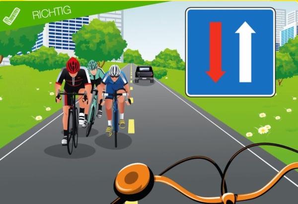 Abbildung zum Verkehrszeichen Vorfahrt bei Gegenverkehr, © ÖAMTC