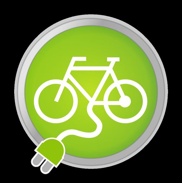 Art Verkehrszeichen, Fahrrad in grünem Kreis mit Kabel und Stecker , © Georg Hirmer auf Pixabay