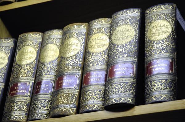 Bücher eines antiquarischen Lexikons, © wikimedia.org/wikipedia/commons/3/35/A_Pallas_Nagy_Lexicona