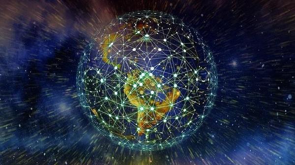 Vernetzte Welt, © https://pixabay.com/de/illustrations/netzwerk-erde-blockchain-globus-3537401/
