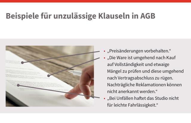 Beispiele für unzulässige Klauseln in AGB, © sozialministerium/shw