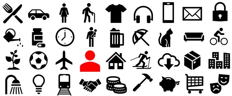 Icons als Symbole für einzelne Bereiche z.B. Reisen, Geld, Wohnen, Kultur   , © AK