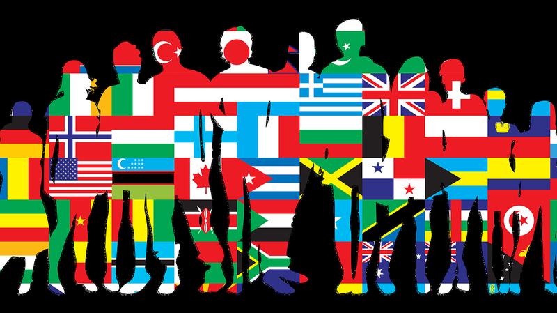 """Schematische Darstellung einer Personengruppe mit internationalen Flaggen, © Bild von <a href=""""https://pixabay.com/de/users/openclipart-vectors-30363/?utm_source=link-attribution&utm_medium=referral&utm_campaign=image&utm_content=2026066"""">OpenClipart-Vectors</a> auf <a href=""""https://pixabay.com/de/?utm_source=link-attribution&utm_medium=referral&utm_campaign=image&utm_content=2026066"""">Pixabay</a>"""