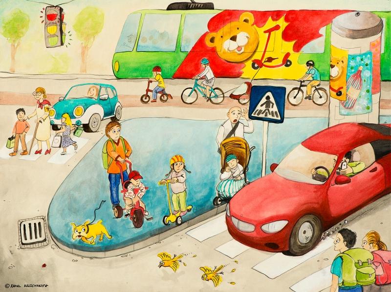 Familie im Straßenverkehr, © Raoul Krischanitz