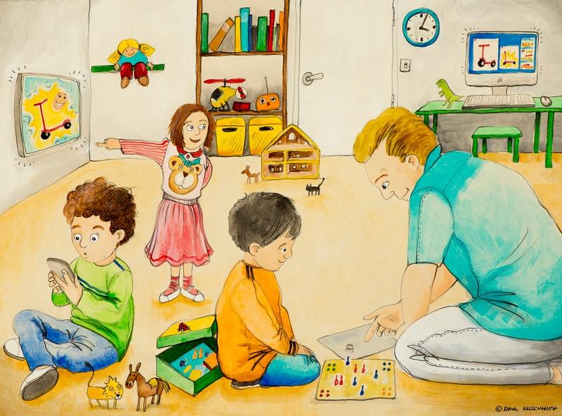 Familie im Wohnzimmer, © Raoul Krischanitz