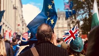 Menschenmenge in London, Mann hält EU-Flagge